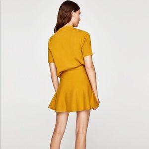 Zara mustard  golden yellow knit flare skirt S